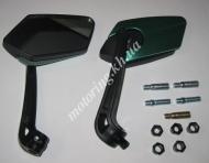 Зеркала KOSO  многоугольные mod:234, 8/10mm  (черно-зеленые)