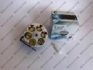 Модуль светодиодный в фару (вставка) круглый, 6 диодов без стекл
